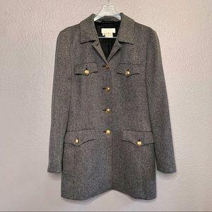 Escada Jacket Blazer 100% Cashmere Herringbone